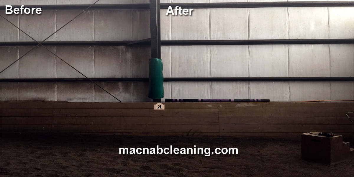 siding cleaning inside arena befoe and after macnab exterior cleaning