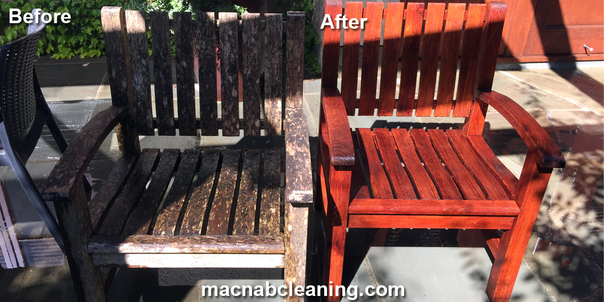 out door wood chairs before and after macnab exterior cleaning