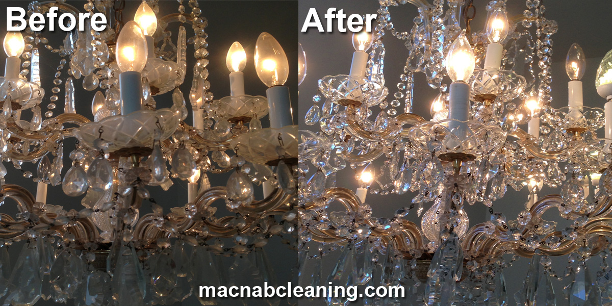 chandelier before and after macnab exterior cleaning