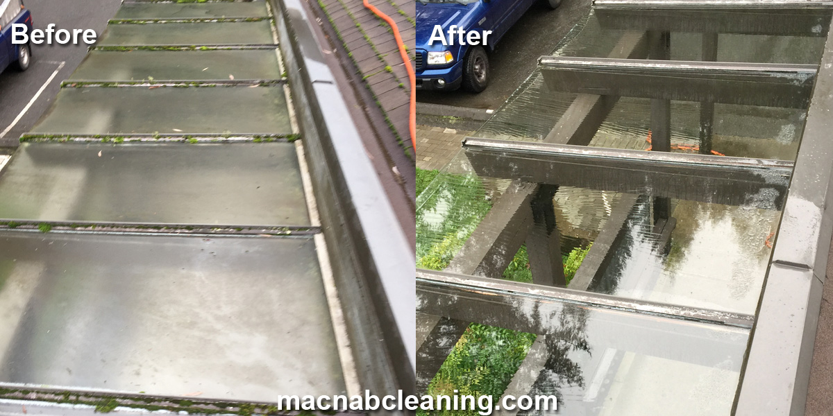 Glass overhang before and after macnab exterior cleaning