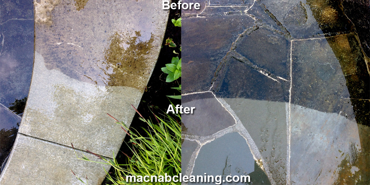 stone, concrete, cement, slate pressure washing before and after macnab exterior cleaning