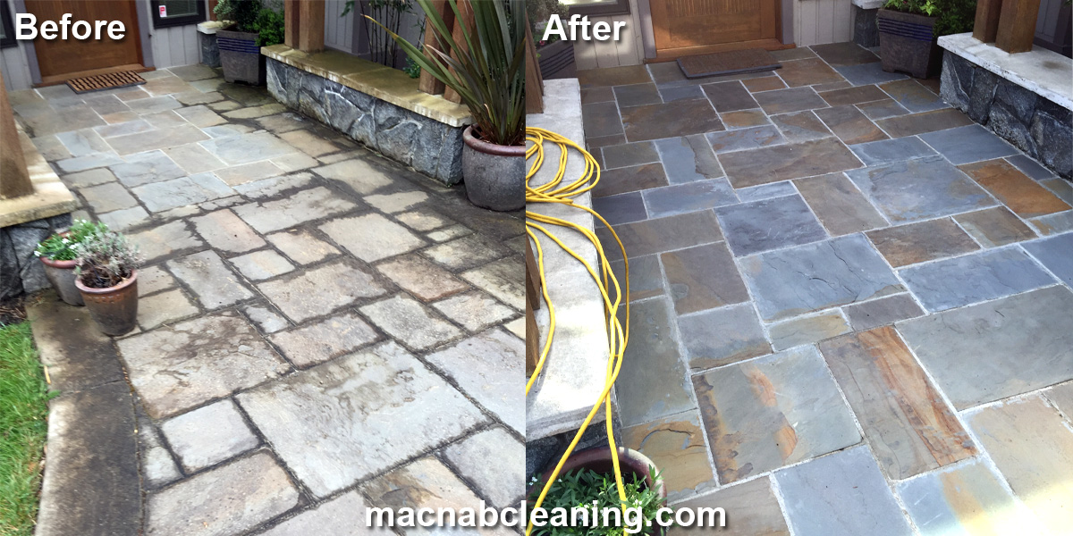 stone slate entry before and after macnab exterior cleaning
