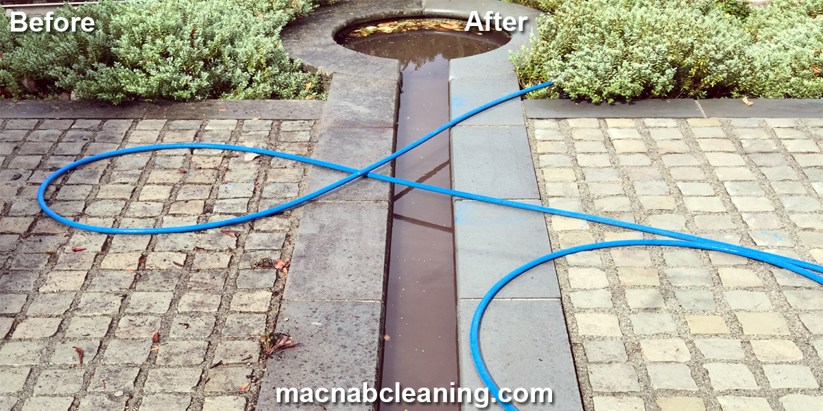 Stone Garden with koi pond before and after macnab exterior cleaning